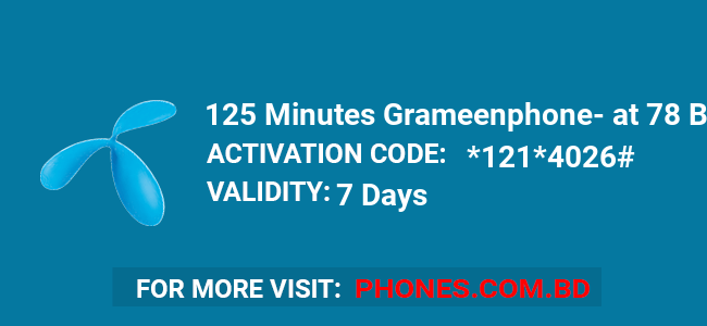 125 Minutes Grameenphone at 78 BDT