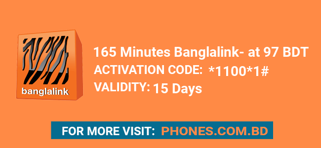 165 Minutes Banglalink at 97 BDT
