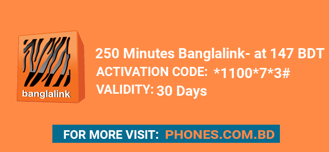 250 Minutes Banglalink at 147 BDT