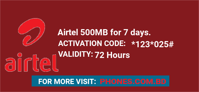 Airtel 500MB for 7 days.
