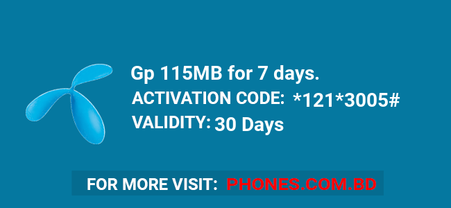 Gp 115MB for 7 days.