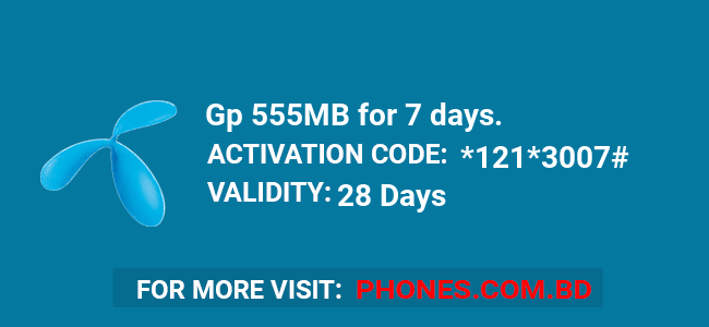 Gp 555MB for 7 days.