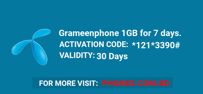 Grameenphone 1GB for 7 days.