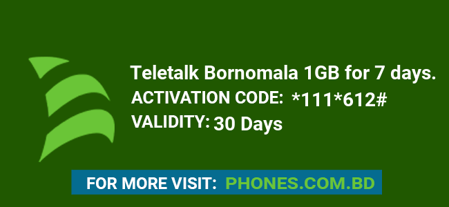 Teletalk Bornomala 1GB for 7 days.