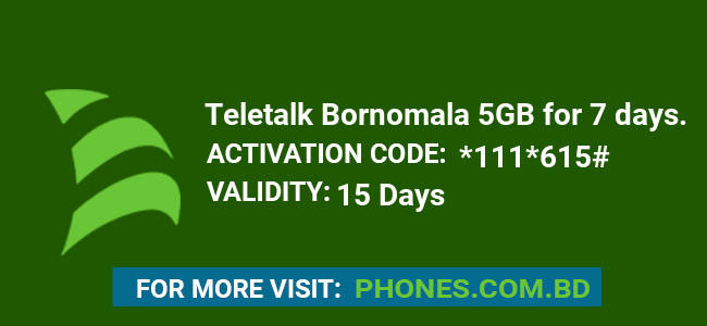 Teletalk Bornomala 5GB for 7 days.
